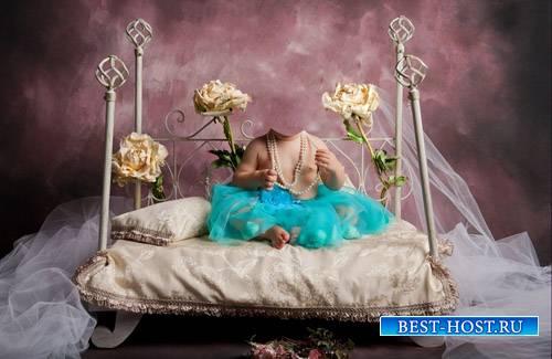 Шаблон для фотомонтажа - Маленькая королева на кровати