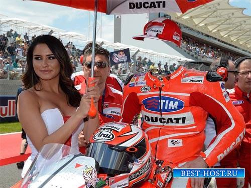 Известный гонщик на спортивном мотоцикле - мужской шаблон