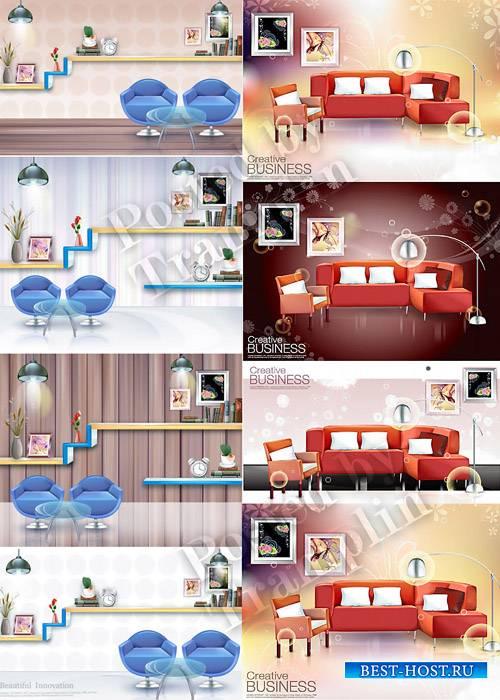 Интерьер в векторе – Софа, диван, кресла, полки, журнальный стол, фон