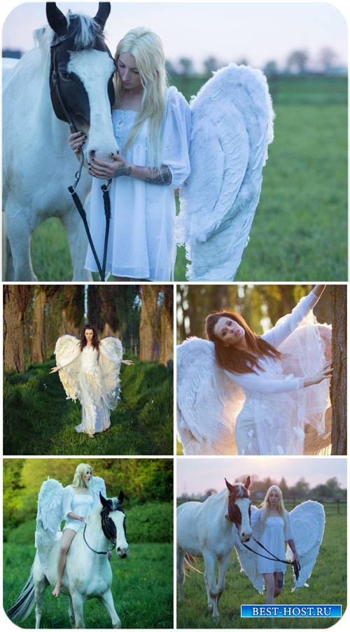 Девушки с крыльями, девушка с лошадью / Girls with wings, girl with horse - Stock Photo