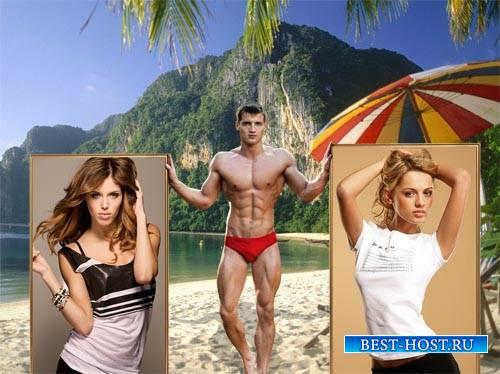 Парень с красивым телом с 2-мя вашими фото - Рамка для фотошопа
