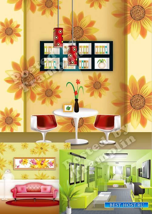 Внутренняя обстановка интерьера в векторе – Internal decor of an interior