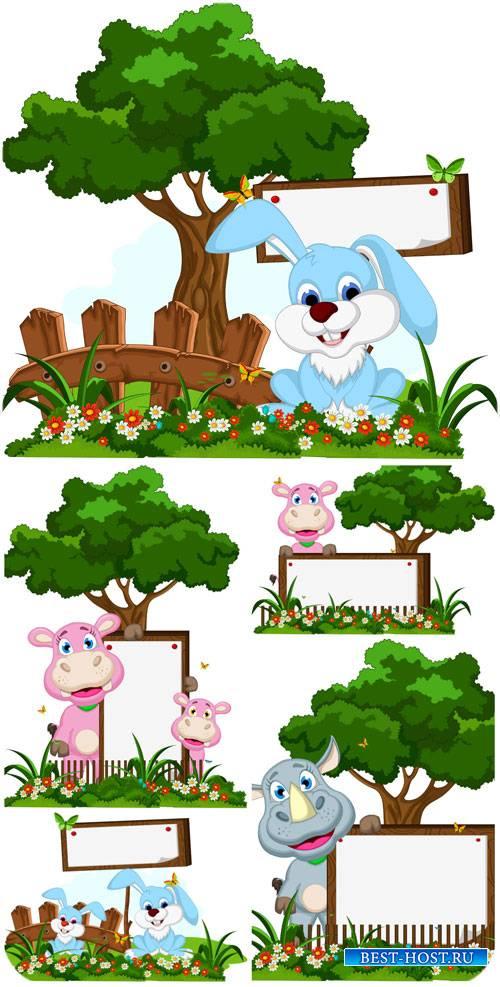 Животные с табличками, зайчик и носорог в векторе / Animals, bunny and rhin ...