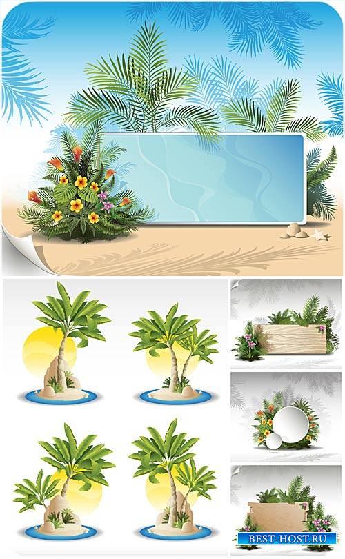 Морской вектор с пальмами и экзотическими цветами / Marine background with  ...