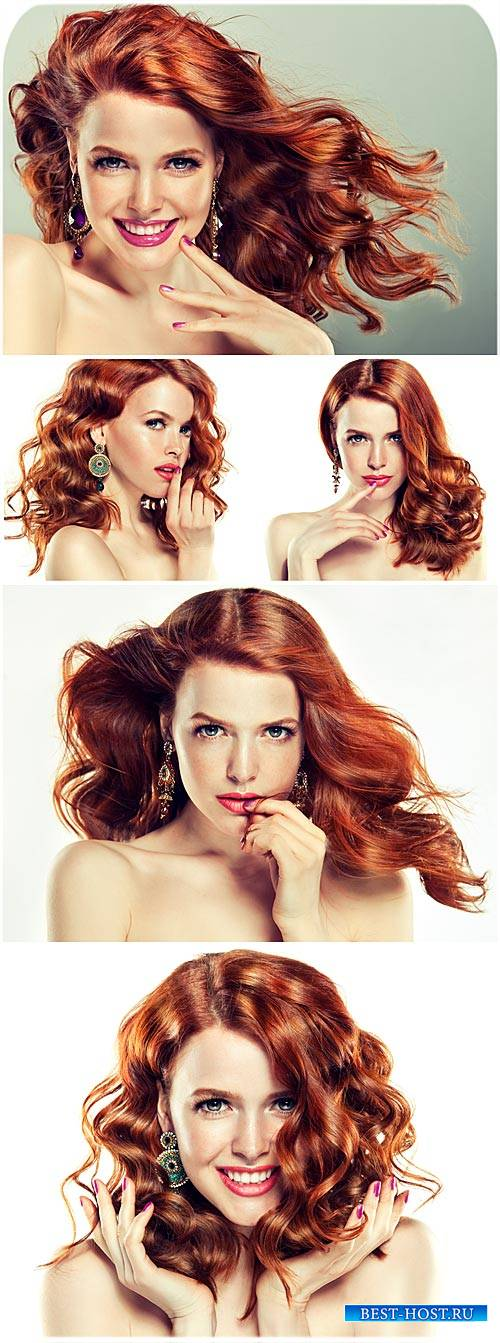 Красивая рыжеволосая девушка / Beautiful red-haired girl - Stock Photo