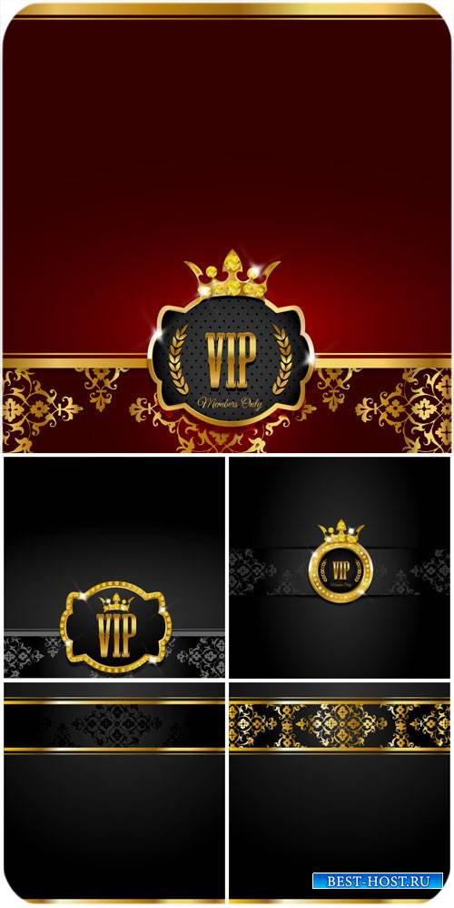 Vip backgrounds vector, gold decor