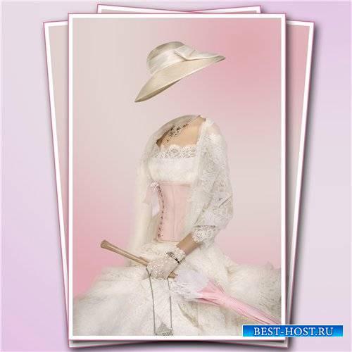 Женский шаблон для фотомонтажа – Бело-розовое платье