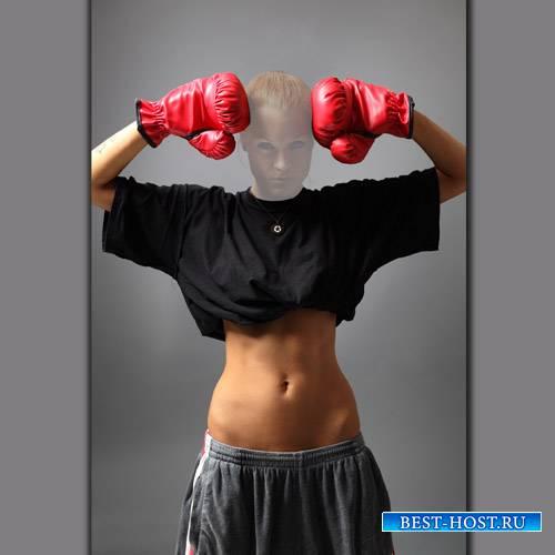 Шаблон psd женский - Девушка боксерша