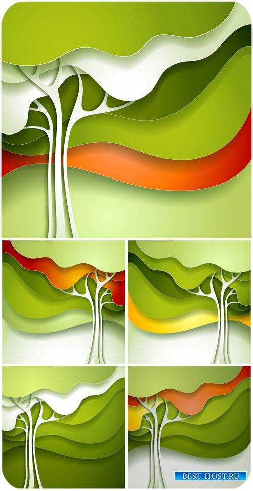 Векторные фоны с деревьями, абстракция / Vector backgrounds with trees, abs ...