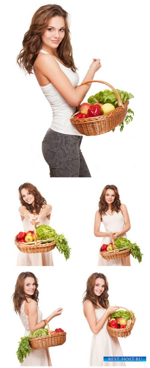 Девушка с корзиной, покупка продуктов / Girl with a basket, grocery shoppin ...