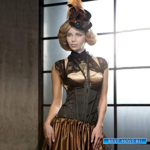 Девушка в красивом платье и шляпке - Шаблон женский