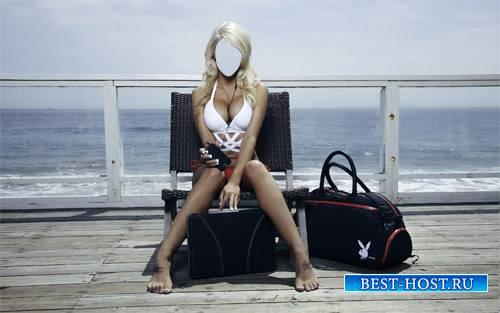 Шаблон для фотошопа - Девушка с плейбой у моря