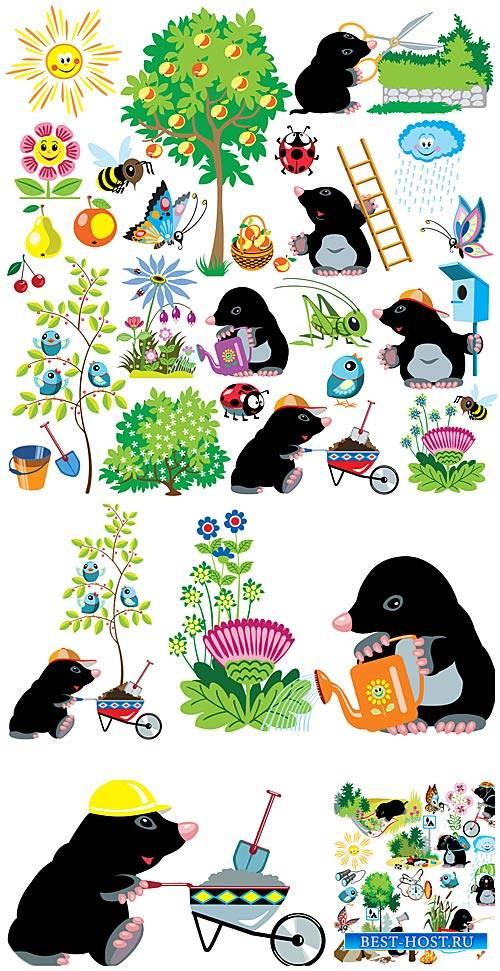 Забавный крот в саду, вектор / Funny mole in the garden vector