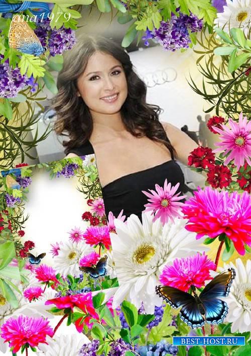 Рамка для фотошопа - Взгляд твой цветочный манит меня