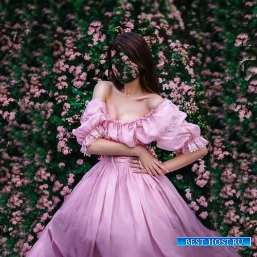 Шаблон psd - В пышном платье среди цветов