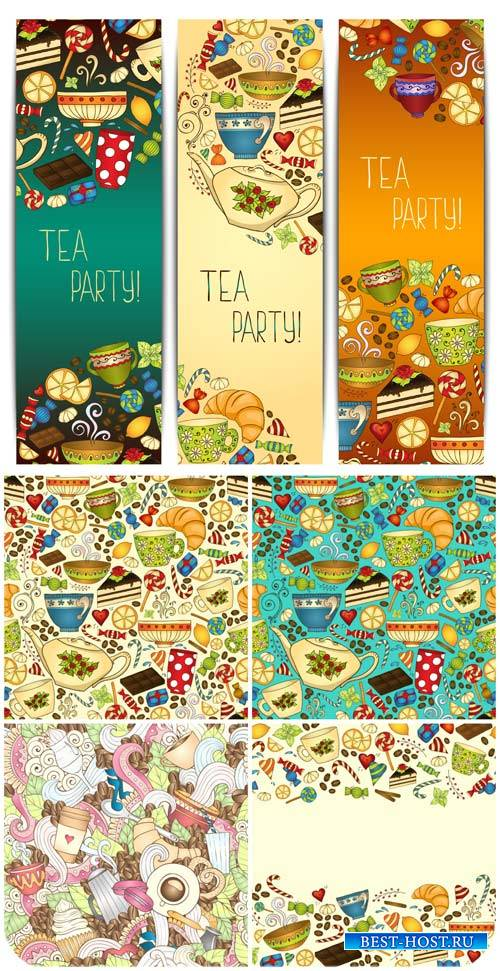 Чай, фоны и баннеры в векторе / Tea, backgrounds and banners vector