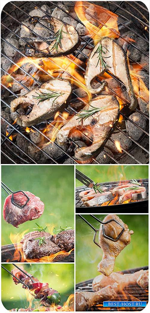 Мясо и рыба на гриле / Meat and fish on the grill - Stock photo
