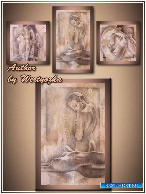 Девушки, арт графика - Модульная картина