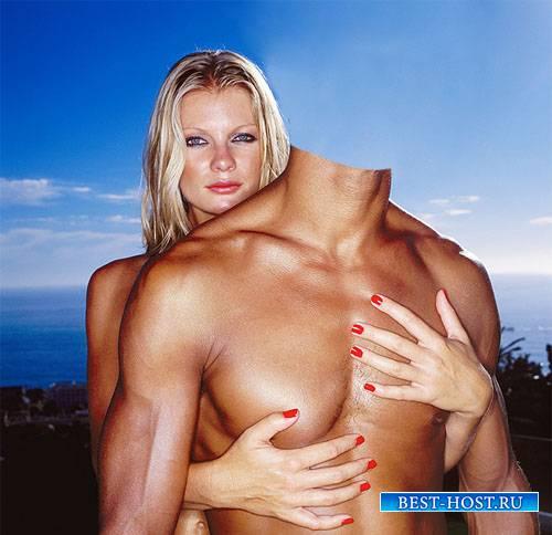 Шаблон psd мужской - На море с красивой блондинкой