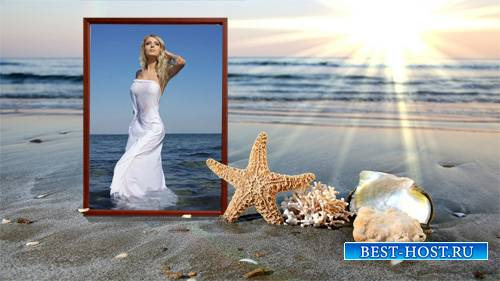 Рамка для фотомонтажа - Теплый песок на море
