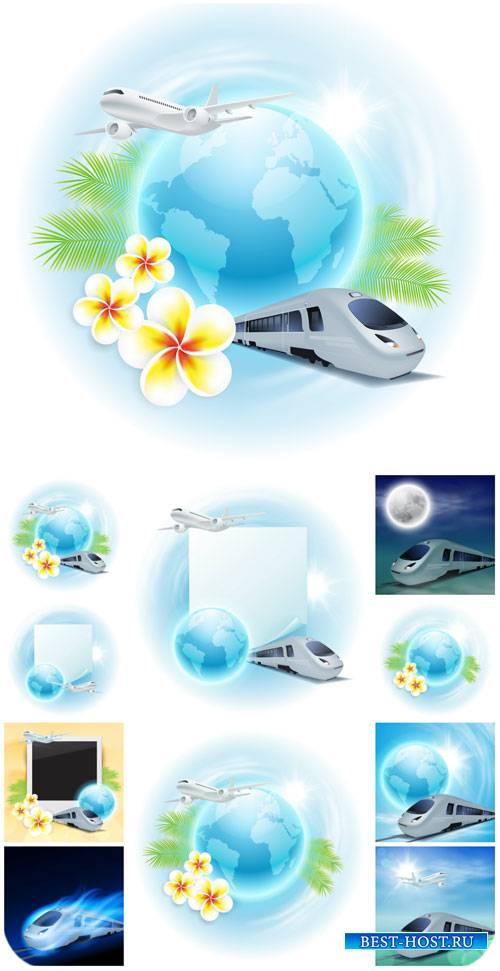 Путешествия, круиз, векторные фоны / Travel, cruise, vector backgrounds