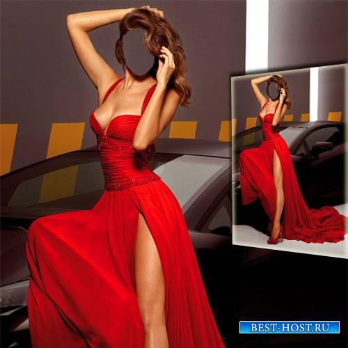 В красном платье возле автомобиля - Шаблон psd