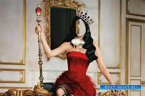 Красивая королева со скипетром и короной - Шаблон женский