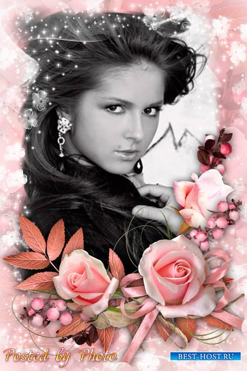 Цветочная рамка - Розовые винтажные розы