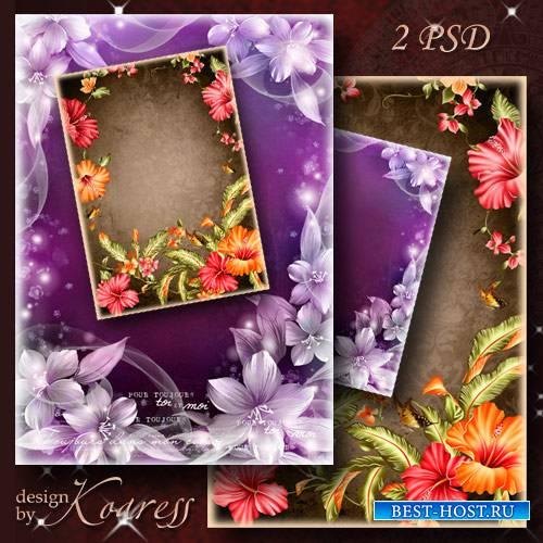 Цветочные рамки для фотошопа - Очаровательный гибискус