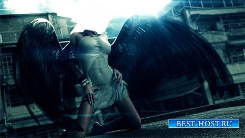 Шаблон psd женский - Шикарный черный ангел