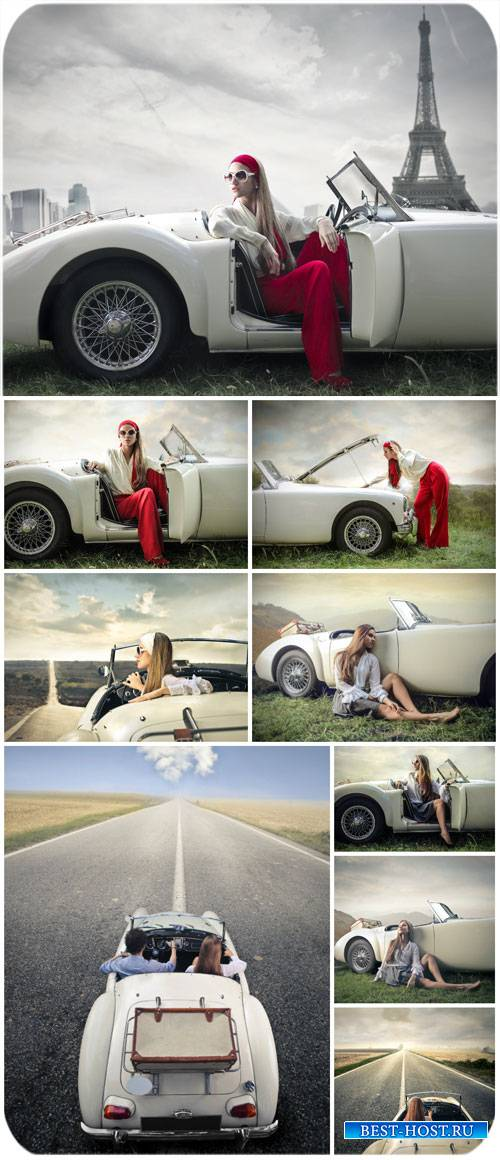 Девушка у автомобиля, путешествия / Girl at car, travel - Stock photo