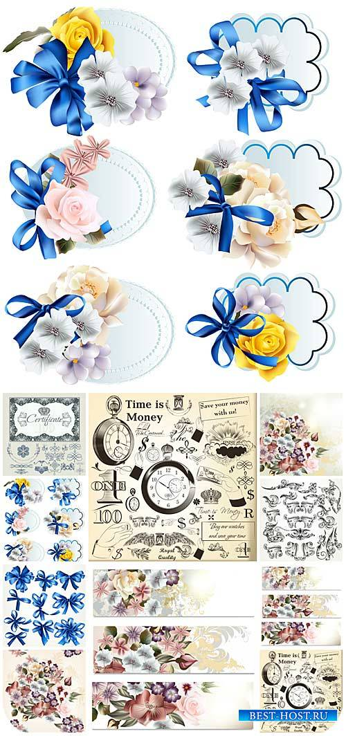 Дизайнерские элементы, цветы в векторе / Design elements, flowers vector