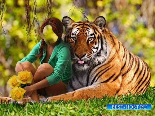 Шаблон для девушек - С тигром и цветами в парке