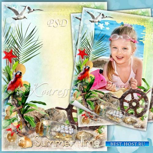 Детская рамка для фотошопа с попугаем, чайками, ракушками - Лето, море, при ...