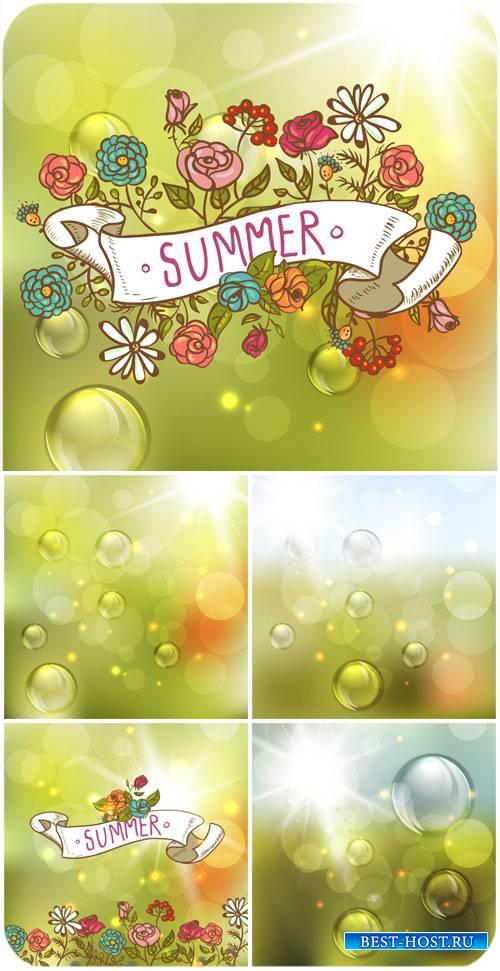 Летние векторные фоны с цветами / Summer vector background with flowers