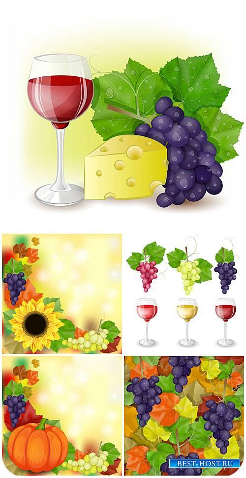 Вино и виноград, осенние векторные фоны / Wine and grapes, autumn vector ba ...