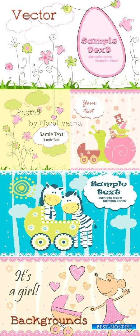 Детские фоны с красивыми цветами, облаками и влюбленным мышонком в Векторе