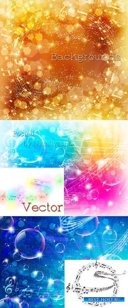 Музыкальные фоны в Векторе с золотыми бликами, прозрачными шарами и музыкал ...
