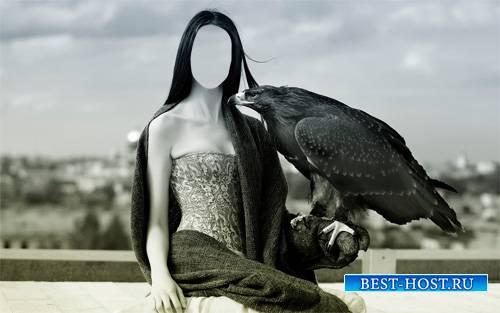 Девушка с орлом - Шаблон psd