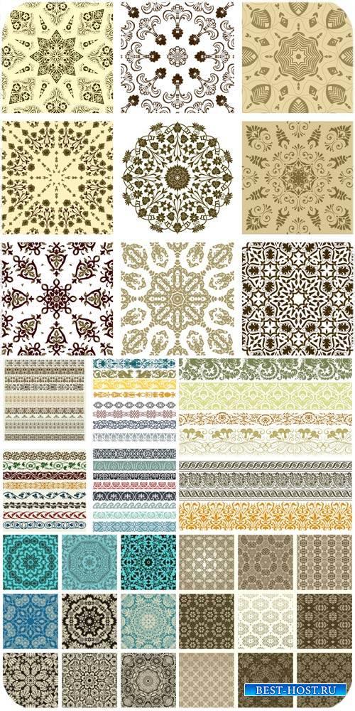 Текстуры, узоры и дизайнерские элементы в векторе / Textures, patterns and  ...