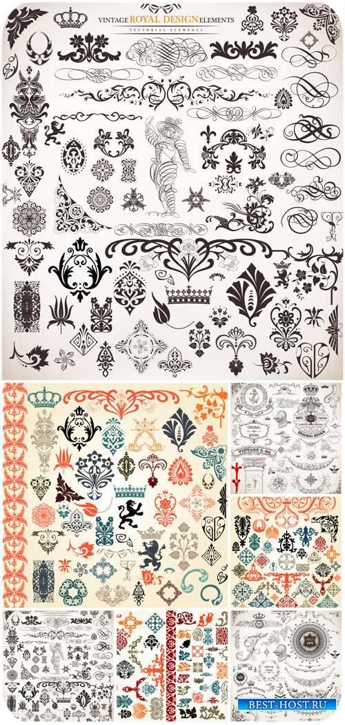 Дизайнерские элементы, узоры и орнаменты в векторе / Design elements, patte ...