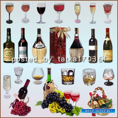 Клипарт для фотошопа - Бутылки и бокалы с вином