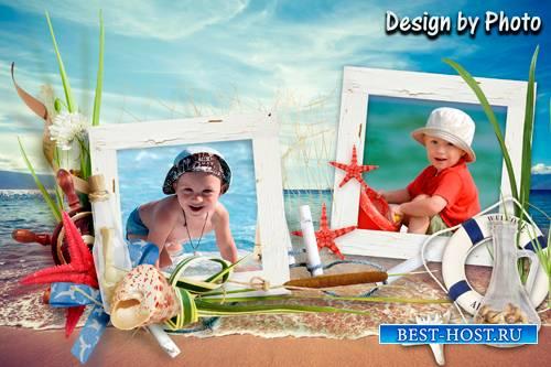 Морская рамка на 2 фото - Лето, солнце, пляж