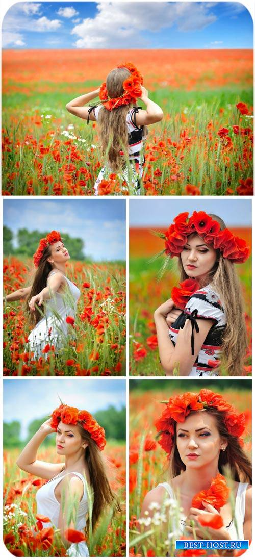Девушка и красные маки / Girl and red poppies - Stock photo
