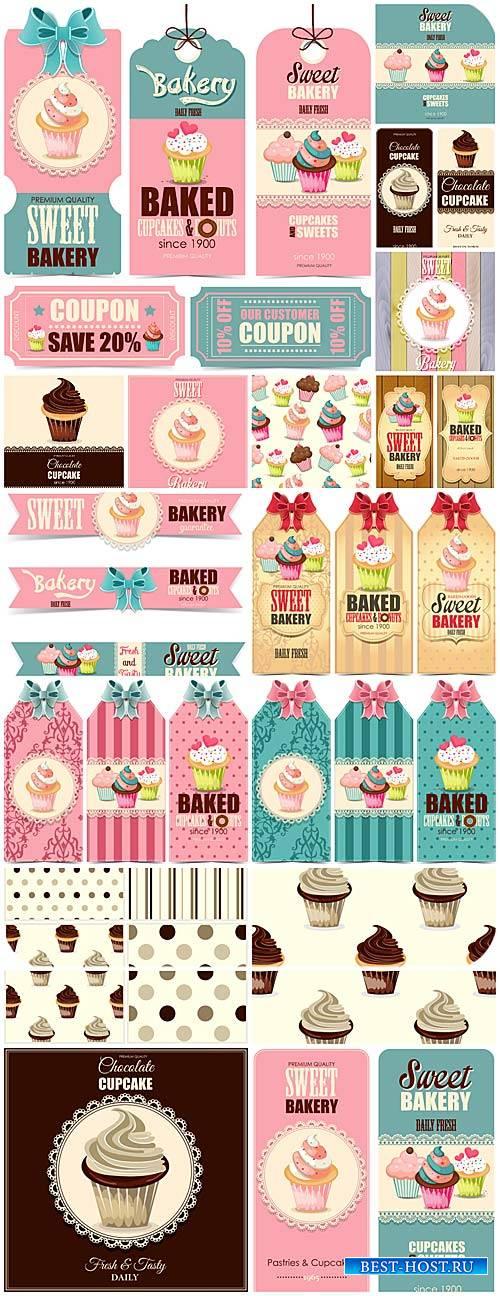 Этикетки и фоны в векторе, сладости, кексы и пирожные / Labels and backgrou ...