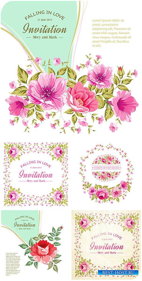 Векторные пригласительные с цветочками / Vector invitation with flowers, ro ...