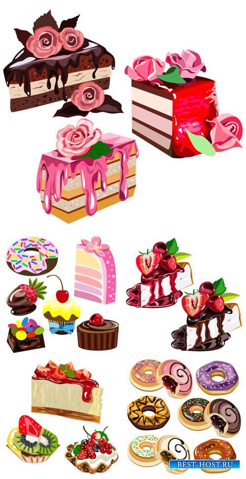 Сладости в векторе, тортики, пирожные, выпечка / Vector sweets, cakes, pies ...