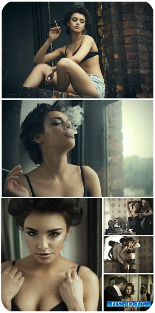 Гламурная пара, девушка с сигаретой / Glamorous couple, girl with cigarette ...