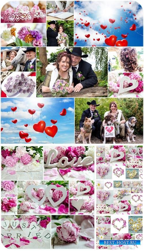 Свадебные коллажи, жених и невеста, цветы / Wedding collages, bride and gro ...