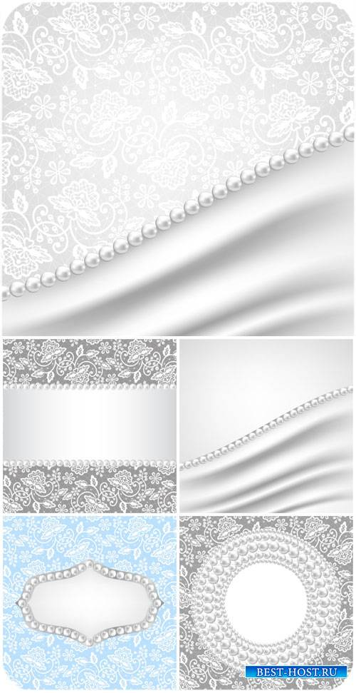 Векторные фоны с узорами и жемчугом / Vector backgrounds with patterns and  ...